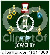 Clipart Of A Flat Design Of Pearls And Jewelry Over Text On Green Royalty Free Vector Illustration by Vector Tradition SM