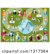 Clipart Of Flat Design Occupational People Avatars Around A Globe On Green Royalty Free Vector Illustration