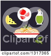 Clipart Of A Flat Design Bowl Of Italian Pasta Spaghetti With Cheese Tomato Olive Oil And Parsley Royalty Free Vector Illustration