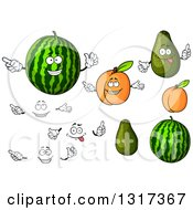 Clipart Of Cartoon Watermelon Apricot Avocado Faces And Hands Royalty Free Vector Illustration