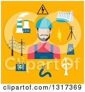 Clipart Of A Flat Design Electrician With Energy Items On Yellow Royalty Free Vector Illustration