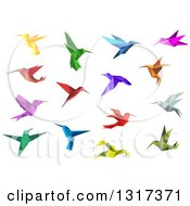 Clipart Of Colorful Origami Hummingbirds Royalty Free Vector Illustration
