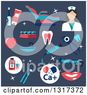 Clipart Of A Flat Design Female Dentist With Tools On Blue Royalty Free Vector Illustration by Vector Tradition SM