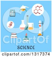 Clipart Of A Flat Design Of Books Distillation Atomic Structure Experiments Flasks And Bunsen Burner Over Text On Blue Royalty Free Vector Illustration by Vector Tradition SM
