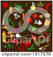 Flat Design Vegetables And Oils On Brown