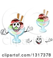 Clipart Of A Cartoon Face Hands And Rainbow Sherbet Ice Cream Sundaes Royalty Free Vector Illustration