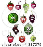 Clipart Of Cartoon Strawberry Cherry Green Grape Raspberry Watermelon Currants And Gooseberry Characters Royalty Free Vector Illustration
