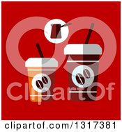 Clipart Of A Flat Design Of Take Out Coffee Cups On Red Royalty Free Vector Illustration