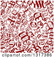 Clipart Of A Seamless Background Pattern Of Red Old English Capital Letters On White Royalty Free Vector Illustration by Vector Tradition SM