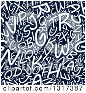 Clipart Of A Seamless Background Pattern Of White Capital Letters On Navy Blue Royalty Free Vector Illustration