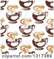Clipart Of A Seamless Background Pattern Of Steamy Brown Coffee Cups 7 Royalty Free Vector Illustration