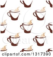 Clipart Of A Seamless Background Pattern Of Steamy Brown Coffee Cups 6 Royalty Free Vector Illustration