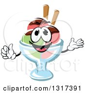 Clipart Of A Cartoon Rainbow Sherbet Ice Cream Sundae Character Presenting And Giving A Thumb Up Royalty Free Vector Illustration by Vector Tradition SM