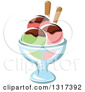 Clipart Of A Cartoon Rainbow Sherbet Ice Cream Sundae Royalty Free Vector Illustration by Vector Tradition SM