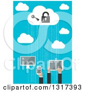 Flat Design Cloud Server With People Using A Computer Tablet And Smart Phone