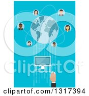 Clipart Of A Global Communication Businessman Using A Desktop Computer Connecting To Partners Worldwide With Blue Globe Surrounded Avatars Royalty Free Vector Illustration by Vector Tradition SM