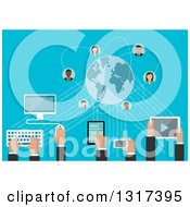 Clipart Of A Social Media Network With People Avatars A Desktop Computer Tablet Smart Phone Royalty Free Vector Illustration by Seamartini Graphics