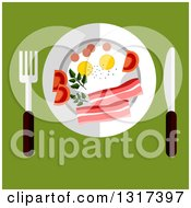 Clipart Of A Flat Design Of A Plate With Eggs Tomato And Bacon Served With Silverware On Green Royalty Free Vector Illustration by Vector Tradition SM