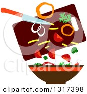 Clipart Of A Flat Design Knife And Cutting Board Dropping Food In A Bowl Royalty Free Vector Illustration