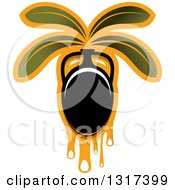 Clipart Of A Black Olive With Dripping Oil And Leaves Royalty Free Vector Illustration
