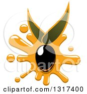 Clipart Of A Black Olive With An Oil Splatter And Leaves Royalty Free Vector Illustration