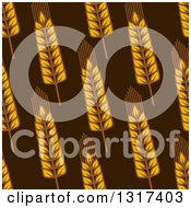 Clipart Of A Seamless Background Patterns Of Gold Wheat On Brown 3 Royalty Free Vector Illustration