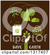 Clipart Of A Flat Design Save Earth And Ecology Concept With A Hand Holding A Young Green Plant Recyclable Eco Bags Bamboo Green Trees And Leaves With Text On Brown Royalty Free Vector Illustration by Vector Tradition SM
