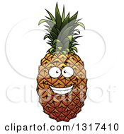 Clipart Of A Grinning Pineapple 2 Royalty Free Vector Illustration