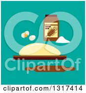 Clipart Of A Flat Design Of Eggs Flour Dough And A Rolling Pin On Turquoise Royalty Free Vector Illustration