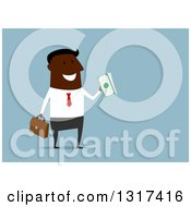 Clipart Of A Flat Design Black Businessman Holding Cash Money Over Blue Royalty Free Vector Illustration