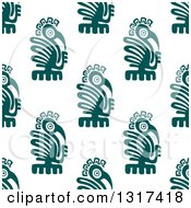Seamless Background Pattern Of Teal Mayan Eagles