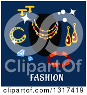 Clipart Of Flat Design Jewelery With Text On Blue Royalty Free Vector Illustration