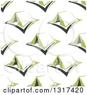 Clipart Of A Seamless Background Pattern Of Green Tents Royalty Free Vector Illustration by Vector Tradition SM