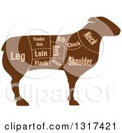 Clipart Of A Silhouetted Brown Sheep With Meat Cuts Royalty Free Vector Illustration
