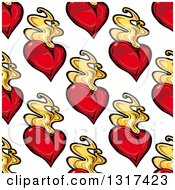 Seamless Pattern Background Of Flaming Hearts