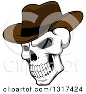 Clipart Of A Cartoon Human Skull Wearing A Cowboy Hat Royalty Free Vector Illustration by Vector Tradition SM
