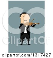 Clipart Of A Flat Design White Man Playing A Violin On Blue Royalty Free Vector Illustration