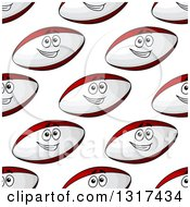 Clipart Of A Seamless Background Pattern Of Happy Rugby Ball Characters Royalty Free Vector Illustration