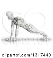 Clipart Of A 3d Anatomical Man In A Push Up Or Yoga Pose With Visible Skeleton On White Royalty Free Illustration