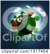 Clipart Of A 3d Roadway With Big Rig Trucks Around A Grassy Planet On Blue Royalty Free Illustration
