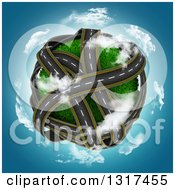 3d Grassy Planet With Overlapping Roadways Encircled With Clouds Over Blue Sky