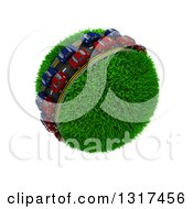 Clipart Of 3d Blue And Red Cars On A Roadway Around A Grassy Planet On White 3 Royalty Free Illustration