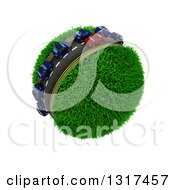 Clipart Of 3d Blue And Red Cars On A Roadway Around A Grassy Planet On White 4 Royalty Free Illustration