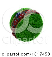 Clipart Of 3d Blue And Red Cars On A Roadway Around A Grassy Planet On White 5 Royalty Free Illustration