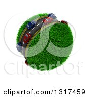 Clipart Of 3d Blue And Red Cars On A Roadway Around A Grassy Planet On White 2 Royalty Free Illustration
