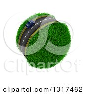 3d Lone Blue Car On A Roadway Around A Grassy Planet On White