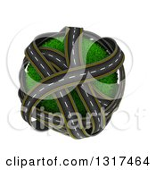 Clipart Of 3d Overlapping Roadways Around A Grassy Planet On White Royalty Free Illustration by KJ Pargeter