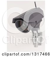 Clipart Of A 3d Black HD CCTV Security Surveillance Camera Mounted On A Wall On Off White 2 Royalty Free Illustration