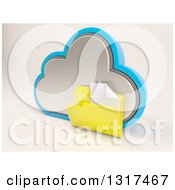3d Cloud Storage Icon With A Plain Document Folder On Off White 2