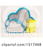 3d Cloud Icon With A Folder On Off White